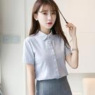 2019春夏季新款韓版白色棉襯衫女長袖學...