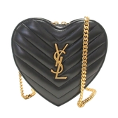 SAINT LAURENT YSL 聖羅蘭 黑色羊皮金色logo愛心造型肩背包 Love Heart  BRAND OFF