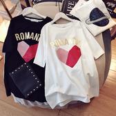 夏季新款大碼女裝短袖t恤時尚寬鬆韓版中長款胖mm顯瘦上衣