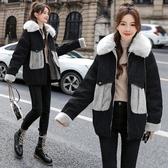 牛仔外套~韓版牛仔棉衣大毛領加厚夾克工裝外套NC420A莎菲娜