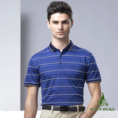 JOHN DUKE 英倫風撞色橫條紋POLO衫 - 藍