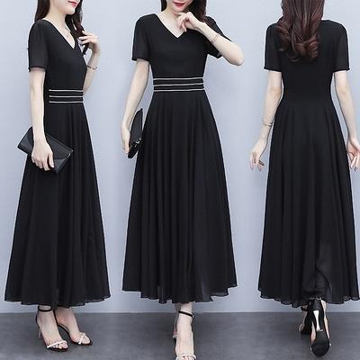 M-5XL小中大尺碼短袖洋裝連身裙~黑色短袖顯高氣質雪紡大擺連身裙長裙女到腳踝8026.NB13日韓屋
