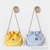 三色補丁復古束口包新款仙女帆布森繫珍珠鍊條包古風斜挎小包(快速出貨)