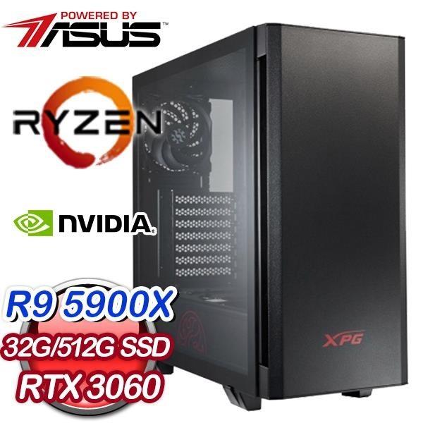 【南紡購物中心】華碩系列【蜜香鳳梨】AMD R9 5900X十二核 RTX3060 電競電腦(32G/512G SSD)
