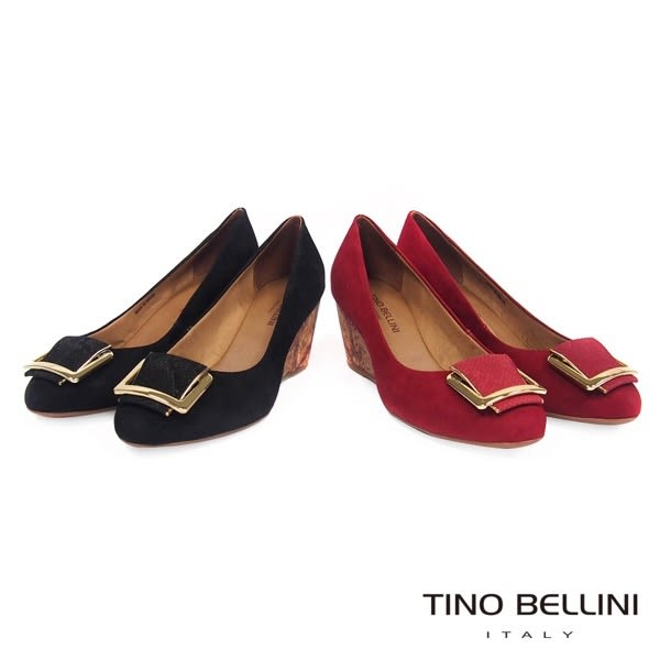Tino Bellini 巴西進口蛇紋方釦舒足楔型鞋 _ 黑  A69009A 歐洲進口款