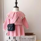 洋裝1-5歲女童韓版大領子針織套裝裙女孩寶寶春秋上衣裙子毛衣兩件套【小獅子】