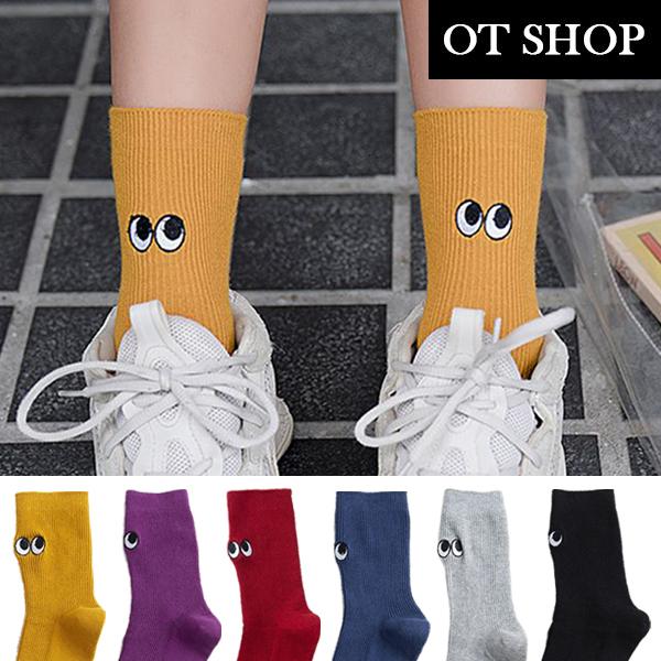 OT SHOP [現貨] 襪子 中筒襪 運動襪 卡通眼睛刺繡 搞怪個性 可搭老爺鞋 黃/紫/紅/藍/淺灰/黑色 M1067