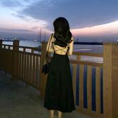 交叉露背吊帶裙女夏修身顯瘦冷淡風裙子女神洋裝      芊惠衣屋