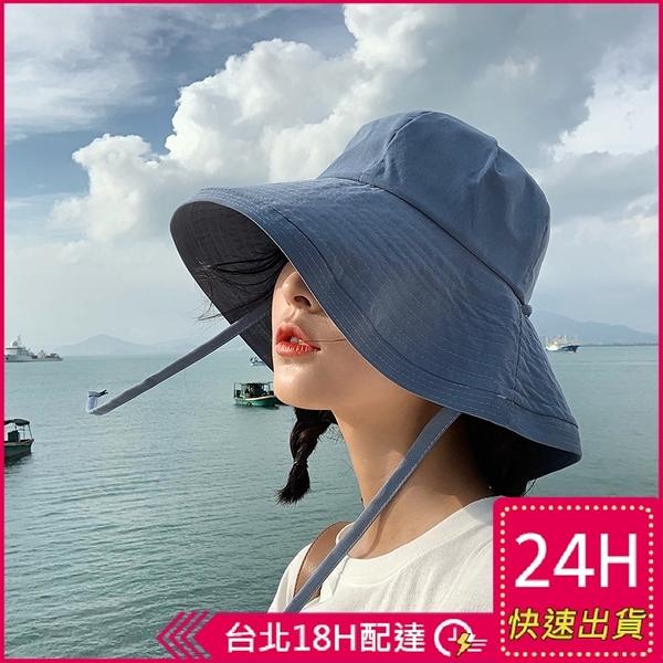 【現貨24H】漁夫帽遮陽帽沙灘帽韓版手工可折疊女生度假綁帶防曬帽海邊圓帽附防風繩梨卡M186