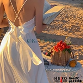 洋裝三亞海邊度假沙灘白色吊帶連身裙女夏季純欲風辣妹穿搭性感長裙子【邦邦男装】