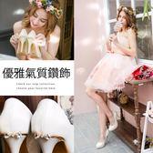 Ann'S公主的憧憬-晶透鑽石蝴蝶結防水台厚底高跟婚鞋-金
