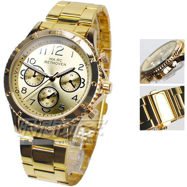 MA RC BETHOVEN 都會三眼造型數字 時尚錶 數字錶 金色電鍍 中性錶/女錶/男款/男錶/都適合 BE2028金