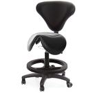 GXG 立體泡棉 小馬鞍加椅背 工作椅 (塑膠踏圈/防刮輪) 型號81T8 EXK