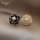 耳環 復古法式山茶花耳釘珍珠耳環女2021年新款潮耳飾925純銀銀針耳墜