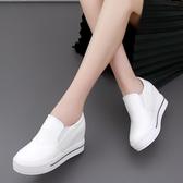 內增高女鞋一腳蹬小白鞋休閒鬆糕厚底厚底楔形單鞋樂福鞋