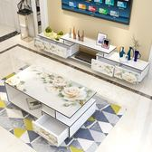 小戶型電視櫃茶幾組合客廳簡約現代鋼化玻璃烤漆迷你伸縮影視地櫃FA【中秋狂歡9折】