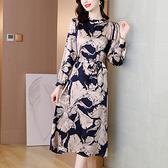 洋裝 中年媽媽裙子秋季浪漫貴氣緞面真絲異域印花氣質顯瘦減齡連身裙女N118韓衣裳