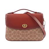 【COACH】專櫃款Cassie 塗層帆布拼皮革轉扣二用包(卡其/紅棕色) 68349 B4NQ4
