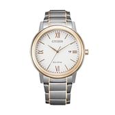 【Citizen星辰】PAIR對錶系列光動能經典羅馬雙色腕錶-白金款/AW1676-86A/台灣總代理公司貨享兩年保固