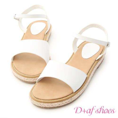 涼鞋 D+AF 夏日時光.一字繫帶平底草編涼鞋*白