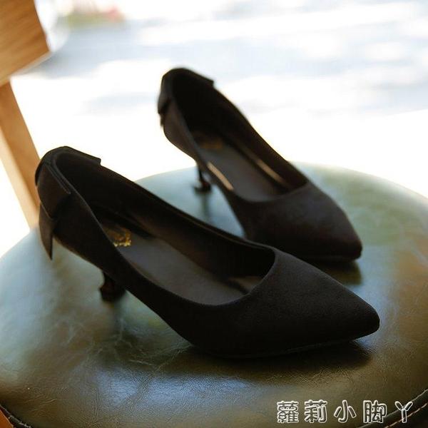 細低跟鞋細跟中跟尖頭高跟鞋女絨面紅色婚鞋墨綠色低跟工作鞋  蘿莉小腳ㄚ