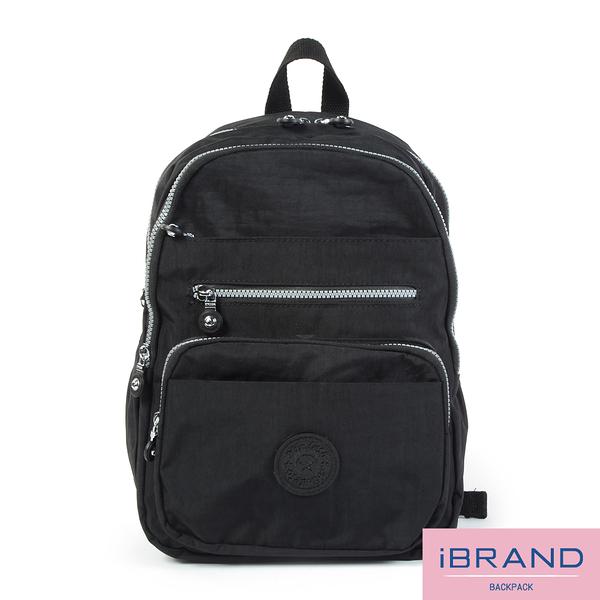 【i Brand】輕盈防潑水多口袋尼龍後背包-黑色 MDS-8551-BK