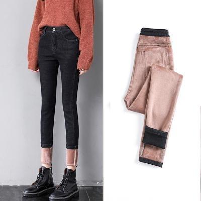 加絨加厚牛仔褲女小腳褲高腰緊身顯瘦冬季外穿保暖鉛筆褲子女T328 韓依紡