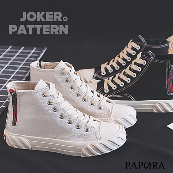 PAPORA綁帶休閒l帆布餅乾鞋K300A黑/米