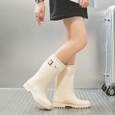 長筒雨靴 雨鞋女高筒韓國可愛時尚款外穿雨靴長筒水鞋防水防滑加絨成人套鞋 小宅女