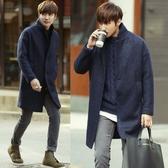 《澤米》中厚立領羊毛外套 日本 韓國 英倫 中長款落肩大衣 紳士 上班族 西裝外套 輕奢(全館任