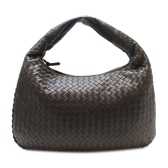 BOTTEGA VENETA 寶緹嘉 棕色編織牛皮肩背包 和尚包 彎月包Veneta Bag 【BRAND OFF】