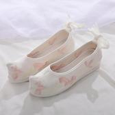 漢服鞋 漢服古裝鞋子女翹頭履弓鞋古風中國風內增高淡雅繫帶白色繡花布鞋 2色34-41
