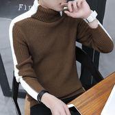 毛衣男士針織衫翻領打底衫套頭上衣服韓版修身高領線衣【歐亞時尚】