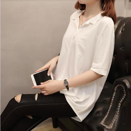 襯衣上衣休閒衫簡約中大尺碼XL-4XL新款韓版加大碼女裝夏季短袖襯衫外穿2F060-8930.皇潮天下