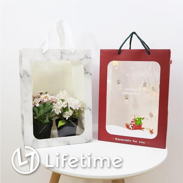 ﹝透明櫥窗手提紙袋﹞正版 禮物包裝 提袋 娃娃提袋 大理石 聖誕〖LifeTime一生流行館〗