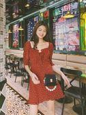 洋裝 連身裙 長洋裝19夏法國小眾復古暗紅色圓點復古少女木耳邊蝴蝶結連衣裙