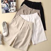 棉麻短褲女新款2019夏季亞麻褲子寬鬆高腰顯瘦大碼闊腿休閒五分褲