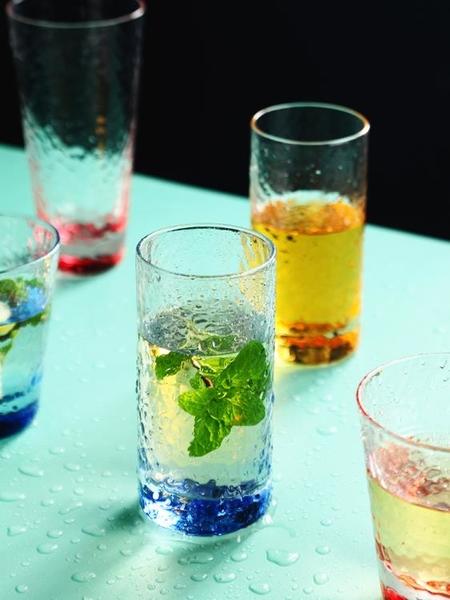 高硼硅耐熱玻璃杯錘紋水杯彩色啤酒杯家用早餐杯牛奶