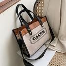手提包 手提帆布女包包2020新款潮歐美ins網紅流行包包托特包寬帶字母包