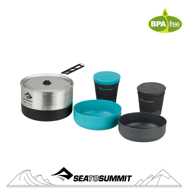 【Sea to Summit 澳洲 Sigma 折疊鍋具組《2.1/2人餐具》】STSAPOTSIGSET2.1/戶外餐具/鍋具