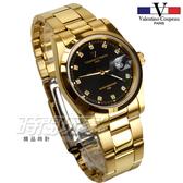 valentino coupeau范倫鐵諾 典雅晶鑽時刻指針錶 防水手錶 石英錶 男錶 黑x金 N12168K黑金大