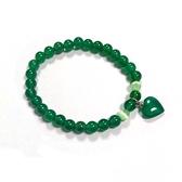 綠瑪瑙心與圓珠彈性手環