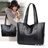 大包包女2020春季新款韓版簡約百搭手提包大容量單肩包托特包女包 LF5055『黑色妹妹』