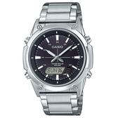 【CASIO】點陣圖太陽能不鏽鋼雙顯錶-黑面(AMW-S820D-1A)