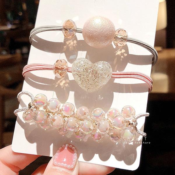 炫彩珍珠彈性髮圈 3件組 頭飾 髮帶 髮圈 髮束 髮繩