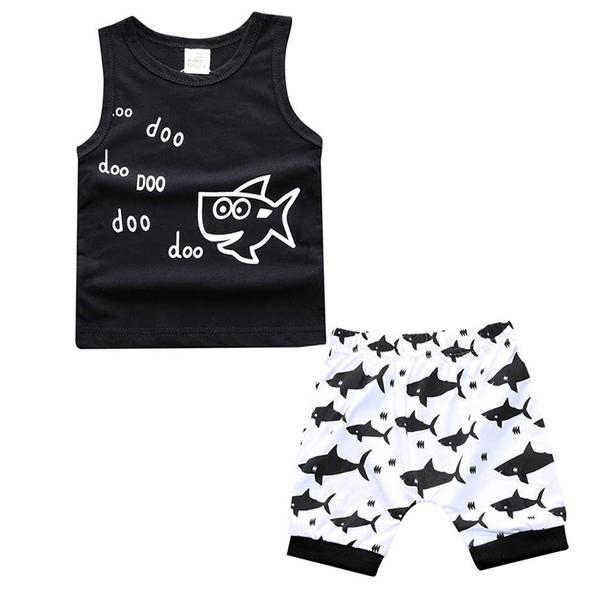 男寶寶套裝 歐美兒童背心 + 鯊魚短褲 嬰兒涼感童裝 SK8208