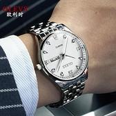 新款歐利時男士手錶全自動機械錶防水夜光雙日歷鋼帶超薄男錶