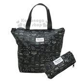 〔小禮堂〕史努比 可折疊保冷手提袋《黑.甜點.滿版》購物袋.便當袋.側背袋 4991277-86514