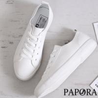 PAPORA男女款小白鞋超纖透氣皮質不磨腳大尺碼小白鞋平底休閒鞋KA5936/Kb6184