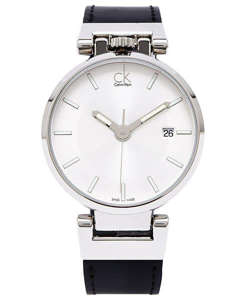 CK Calvin Klein WORLDLY 引領時尚皮帶男手錶(K4A211C6)-白面X黑色/42mm